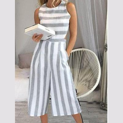 Striped Scoop Sleeveless Tee Length..