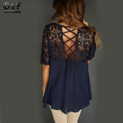 Pure Color Lace Patchwork Half Slee..