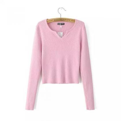 Pure Color V-neck Long Sleeves Shor..
