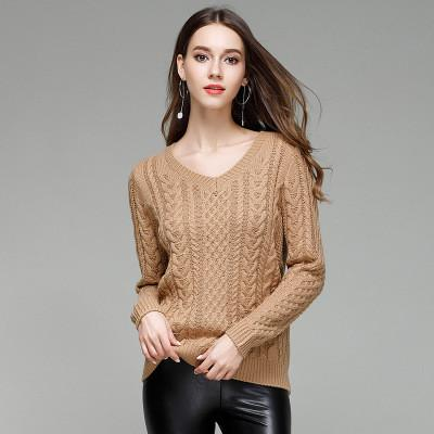 Long Sleeves V-neck Pure Color Cabl..