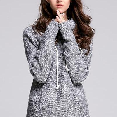 High Neck Pocket Knit Wear Hooded S..