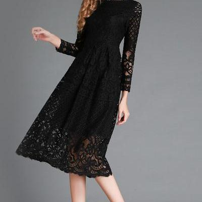 Pure Color Long Sleeves Lace Tee-le..