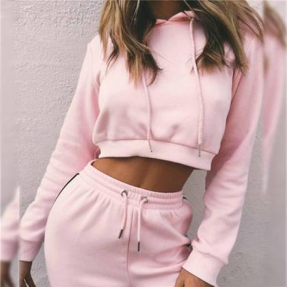 Pure Color Straps Hoodie with Pants..