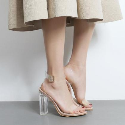 Transparent Open-Toe Buckle Ankle S..