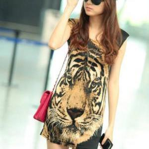 Handsome Tiger Print Cotton Tank Dr..