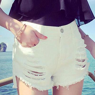High Waist Pure Color Cut Hole Deni..