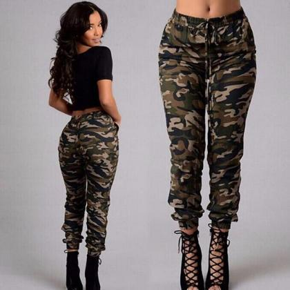Green Camouflage Printed Joggers, S..