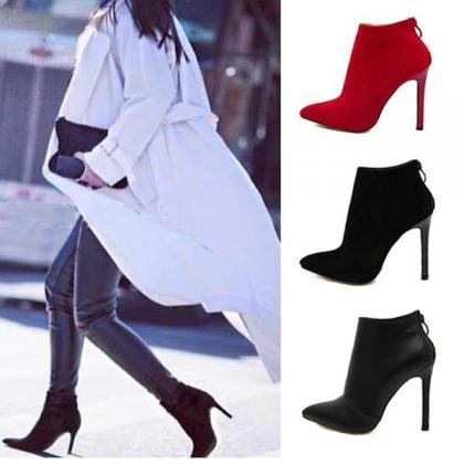 Pointed Toe High Heel Ankle Boots F..