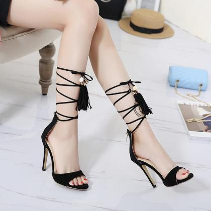 Faux Suede Open-Toe Lace-Up High He..