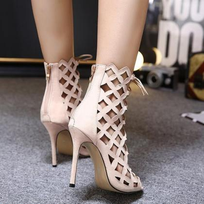 Cut Out Suede Peep Toe Ankle Short ..