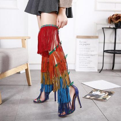 Colorful Tassels Supper High Stilet..