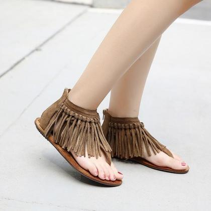 Retro Tassels Slip-on Zipper Flat S..