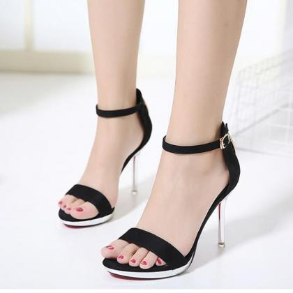 598a2612781 Faux Suede Ankle Straps High Heel Sandals Featuring Transparent ...