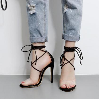 Open Toe Ankle Straps Wraps Transpa..