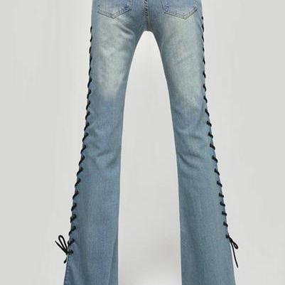 Straps Lace Up Slim Bell-bottomed L..