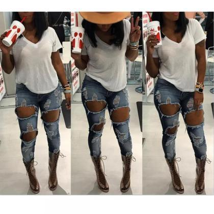 High Waist Hollow Out Rough Holes S..