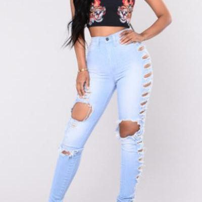 Solid Color High Waist Cut Out Hole..