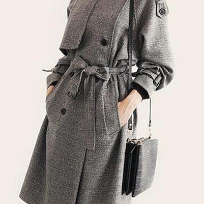 Plaid Lapel Collar Strap Belt Butto..