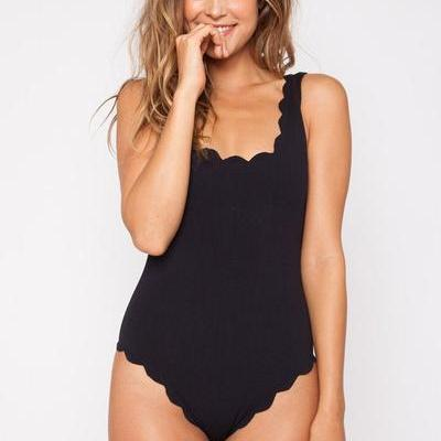 Pure Color Wave One Piece Swimwear