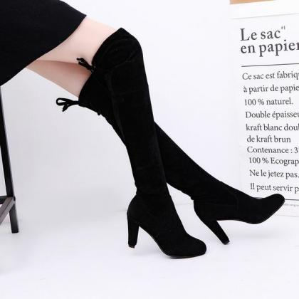 Faux Suede Rounded Toe Chunky Heel ..