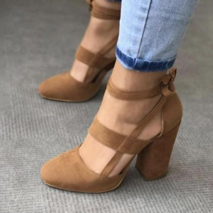 Round Toe Ankle Wrap Lace Up Chunky..