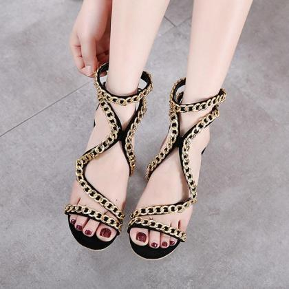 Metal Chain Decorate Open Toe Cut O..