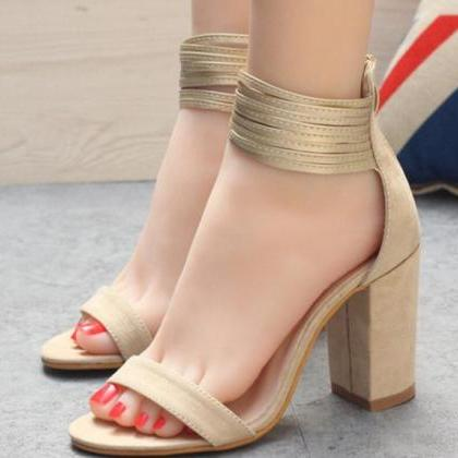 Back Zipper Ankle Wrap Open Toe Chu..