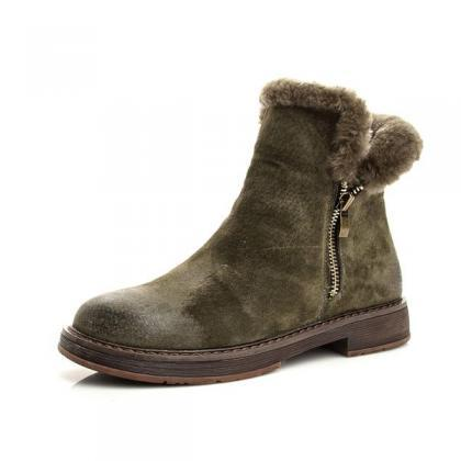 Side Zipper Round Toe Faux Fur Brit..