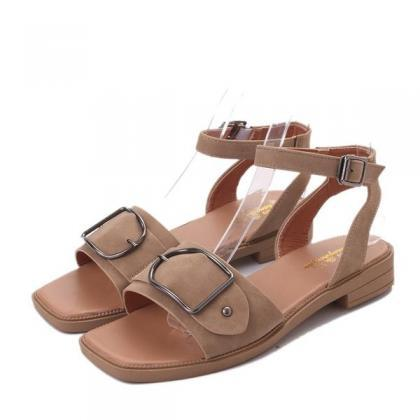 Hasp Open Toe Ankle Wrap Flat Sanda..
