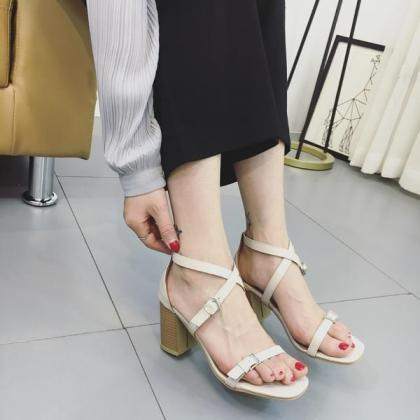 Faux Leather Square Open-Toe Crissc..