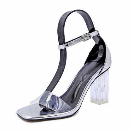 Square-Toe Ankle Strap Transparent ..