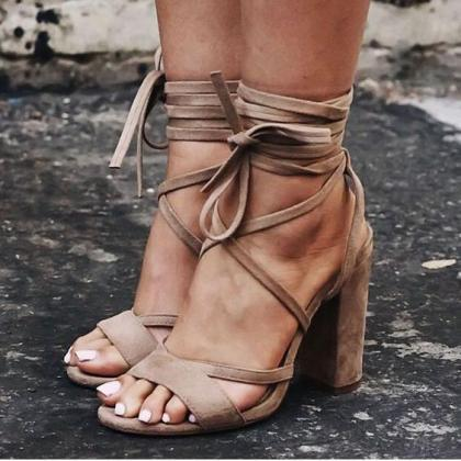Open Toe Ankle Wraps Lace Up Chunky..