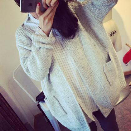 Pure Color Long Sleeves Pockets Loo..