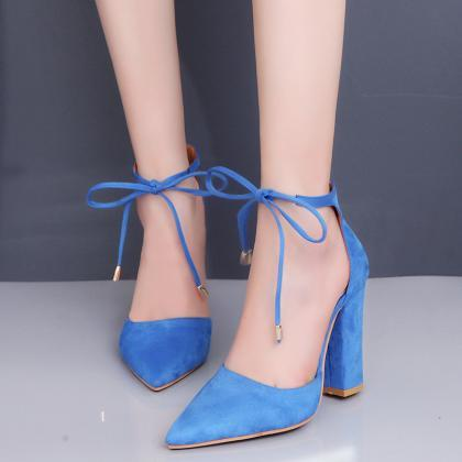 Pointed Toe Suede Front - Tie Pumps..
