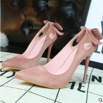Back Bowknot Decorate Pointed Toe L..
