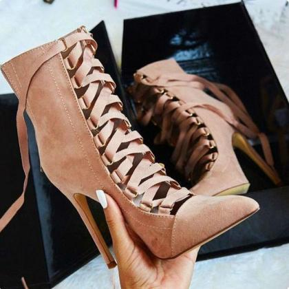 Faux Suede Lace-Up Pointed-Toe High..