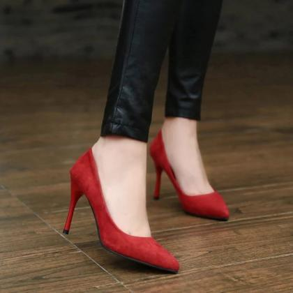 Faux Suede Pointed Toe High Heels