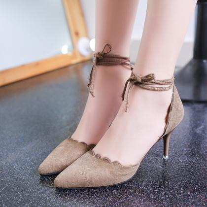 Faux Suede Pointed-Toe Lace-Up High..
