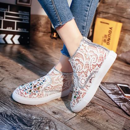 Crystal Lace Hollow Out Flat Casual..
