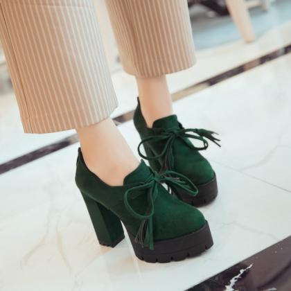 Solid Color Lace UP Platform High C..