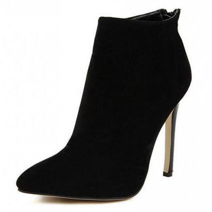 Black Faux Suede Pointed-Toe High H..