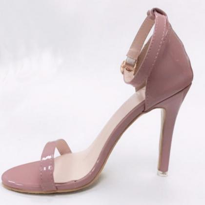 Patent Leather Ankle Strap High Hee..