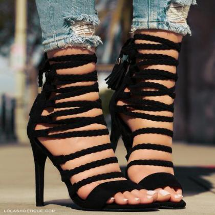 Straps Cross Ankle Wrap Tassels Ope..