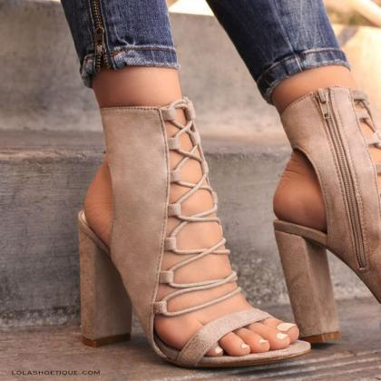 Ankle Straps Cross Open Toe High Ch..