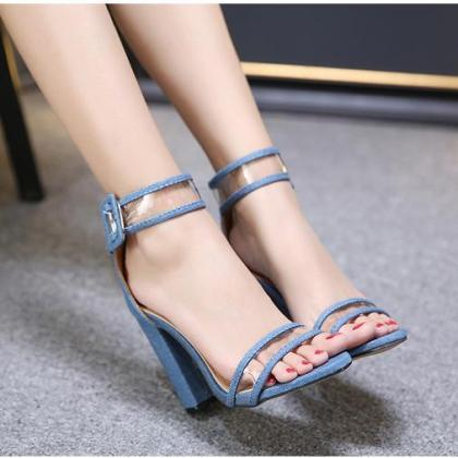 Open Toe Transparent Ankle Wrap Bac..