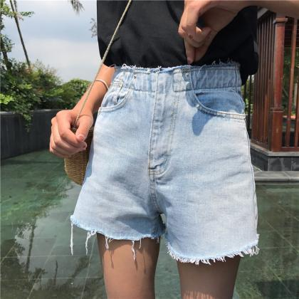 Rough Edge Pockets Wide-leg Shorts