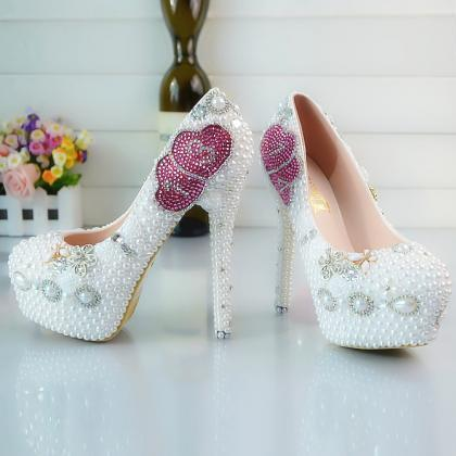 Crystal Beads Round Toe Low Cut Sti..