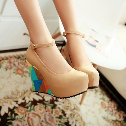 Round Toe Platform Ankle Wrap Wedge..