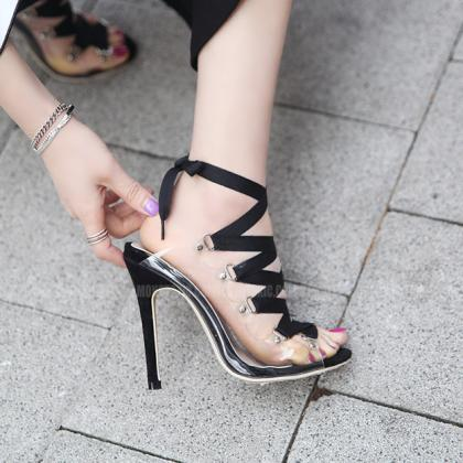 Peep Toe Straps Lace Up Transparent..