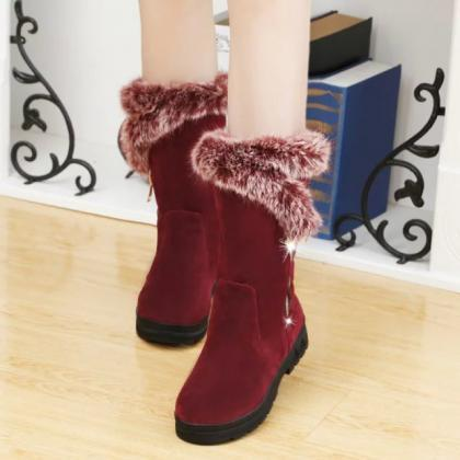 PU Pure color Chunky Heel Zipper Ro..